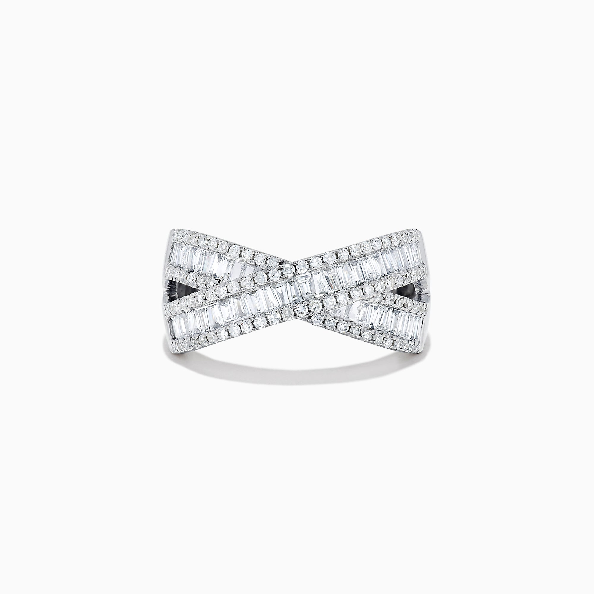 Effy Classique 14K White Gold Diamond Cross Over Ring, 0.95 TCW