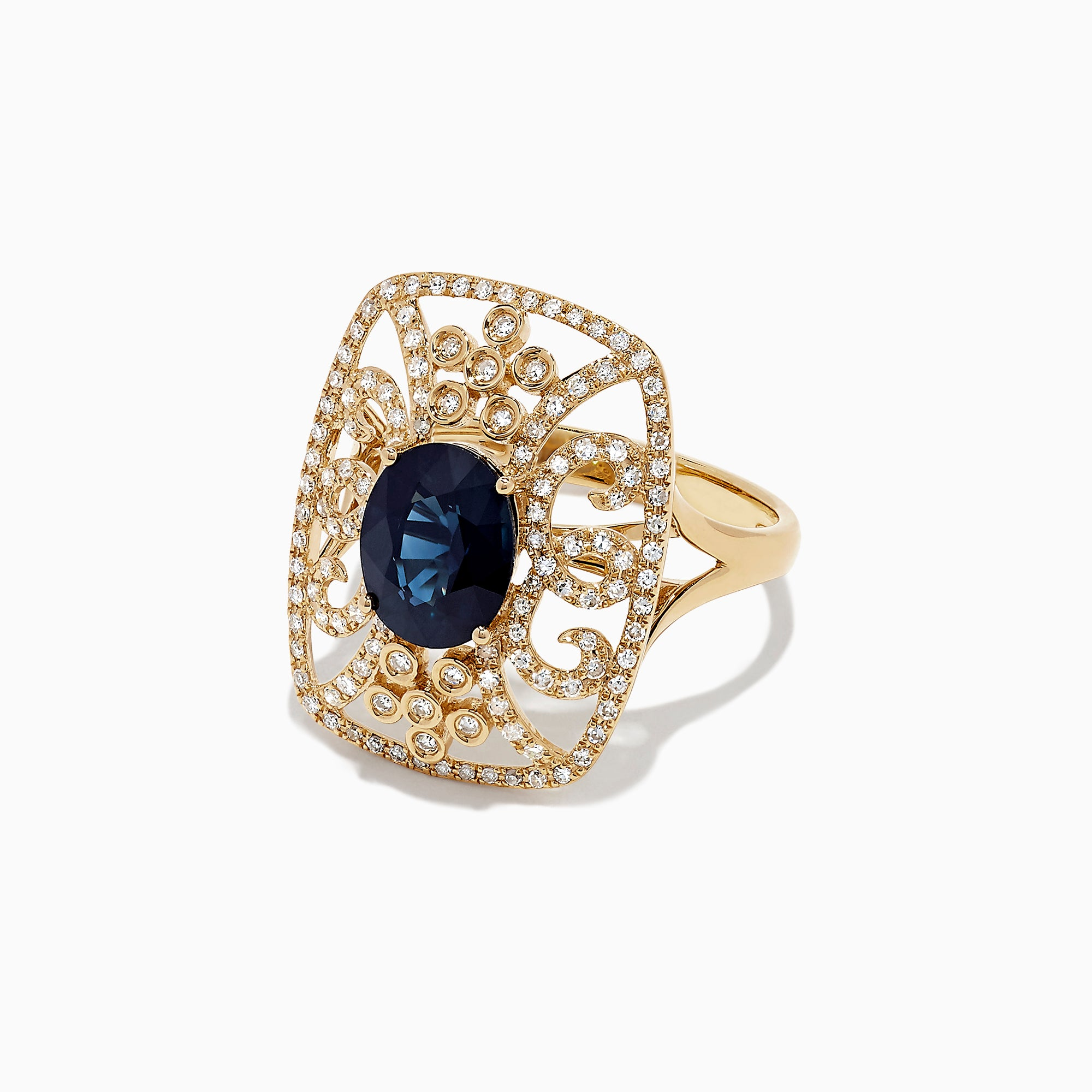 Effy 14K Yellow Gold Sapphire and Diamond Ring, 2.42 TCW