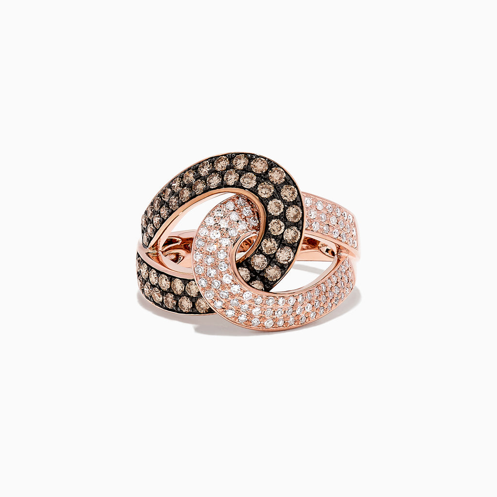 Effy 14K Rose Gold Espresso and White Diamond Ring, 1.08 TCW