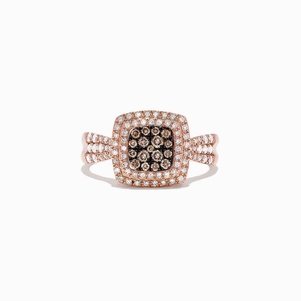 Effy 14K Rose Gold Espresso and White Diamond Ring, 0.54 TCW