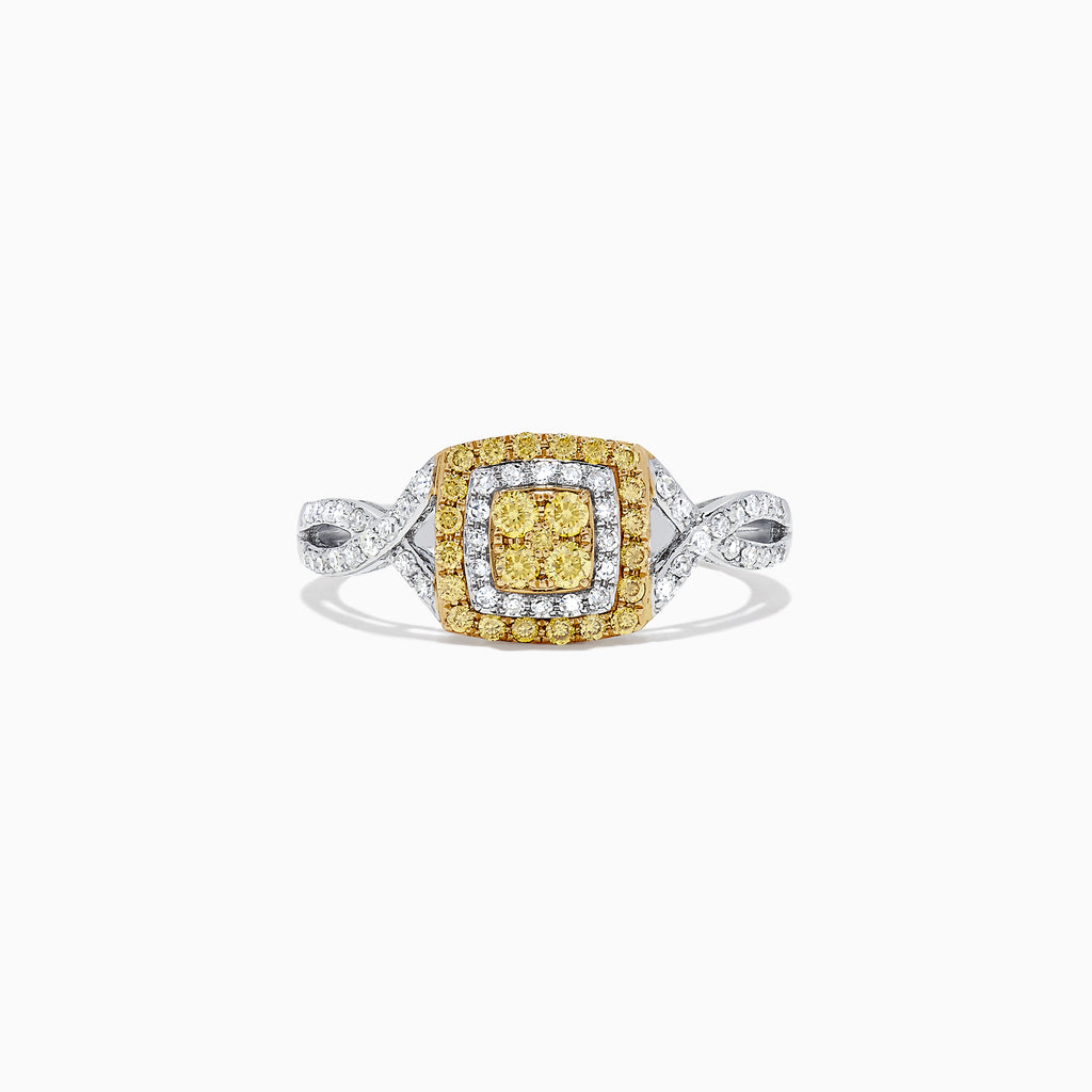 Effy 14K Two Tone Gold Yellow and White Diamond Ring, 0.44 TCW