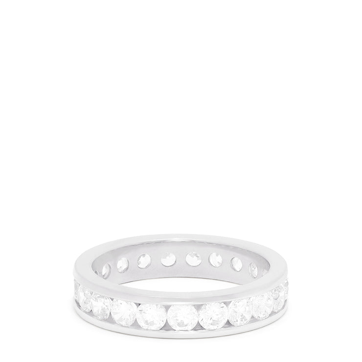 14K White Gold Channel Set Diamond Eternity Band, 2.00 TCW