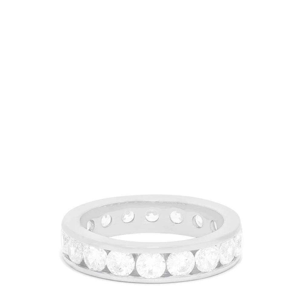 14K White Gold Channel Set Diamond Eternity Band, 3.00 TCW