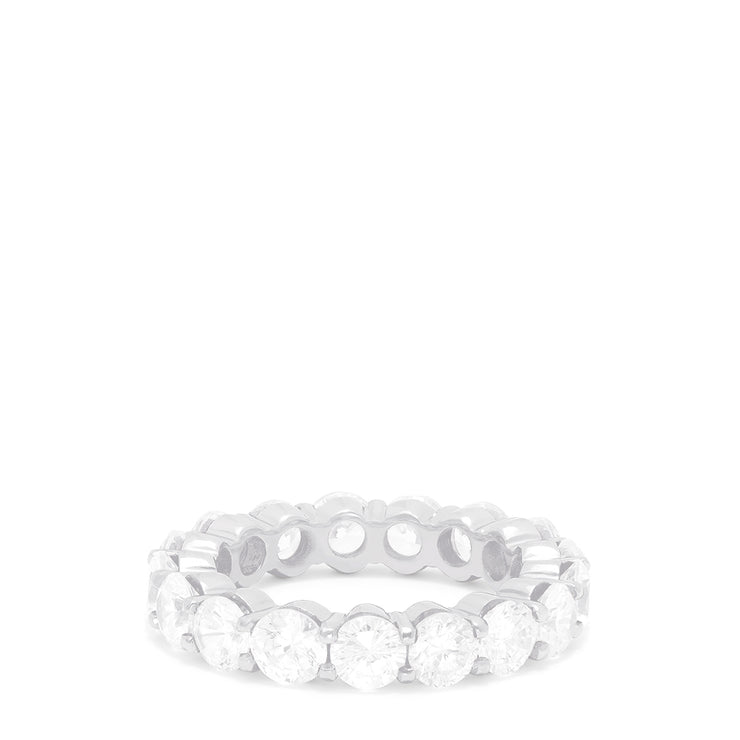 14K White Gold Prong Set Diamond Eternity Band, 4.00 TCW
