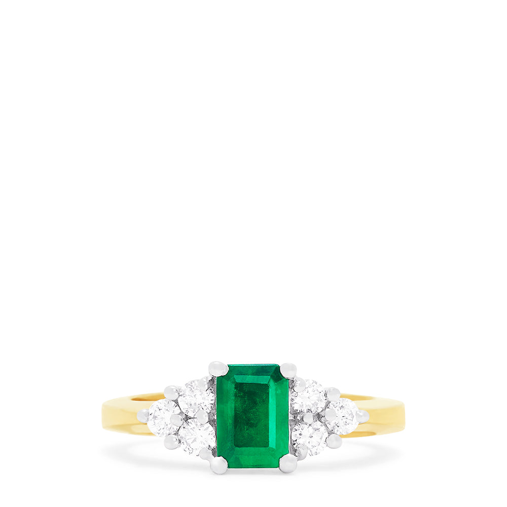 Effy Brasilica 14K 2-Tone Gold Emerald and Diamond Ring, 1.36 TCW