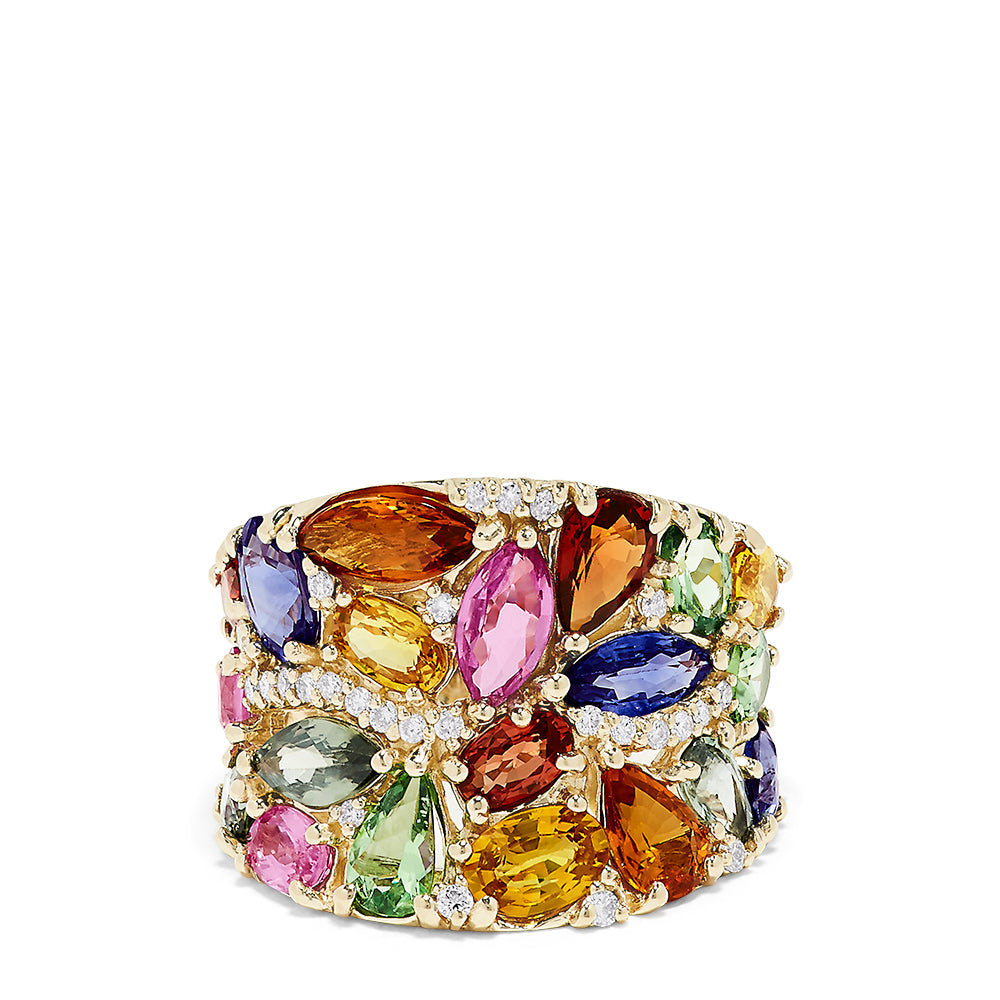 Effy Watercolors 14K Yellow Gold Multi Sapphire and Diamond Ring, 8.28 TCW