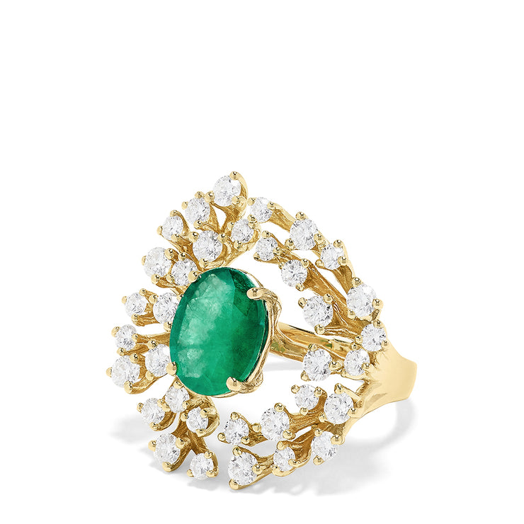Effy Brasilica 14K Yellow Gold Emerald and Diamond Ring, 5.10 TCW