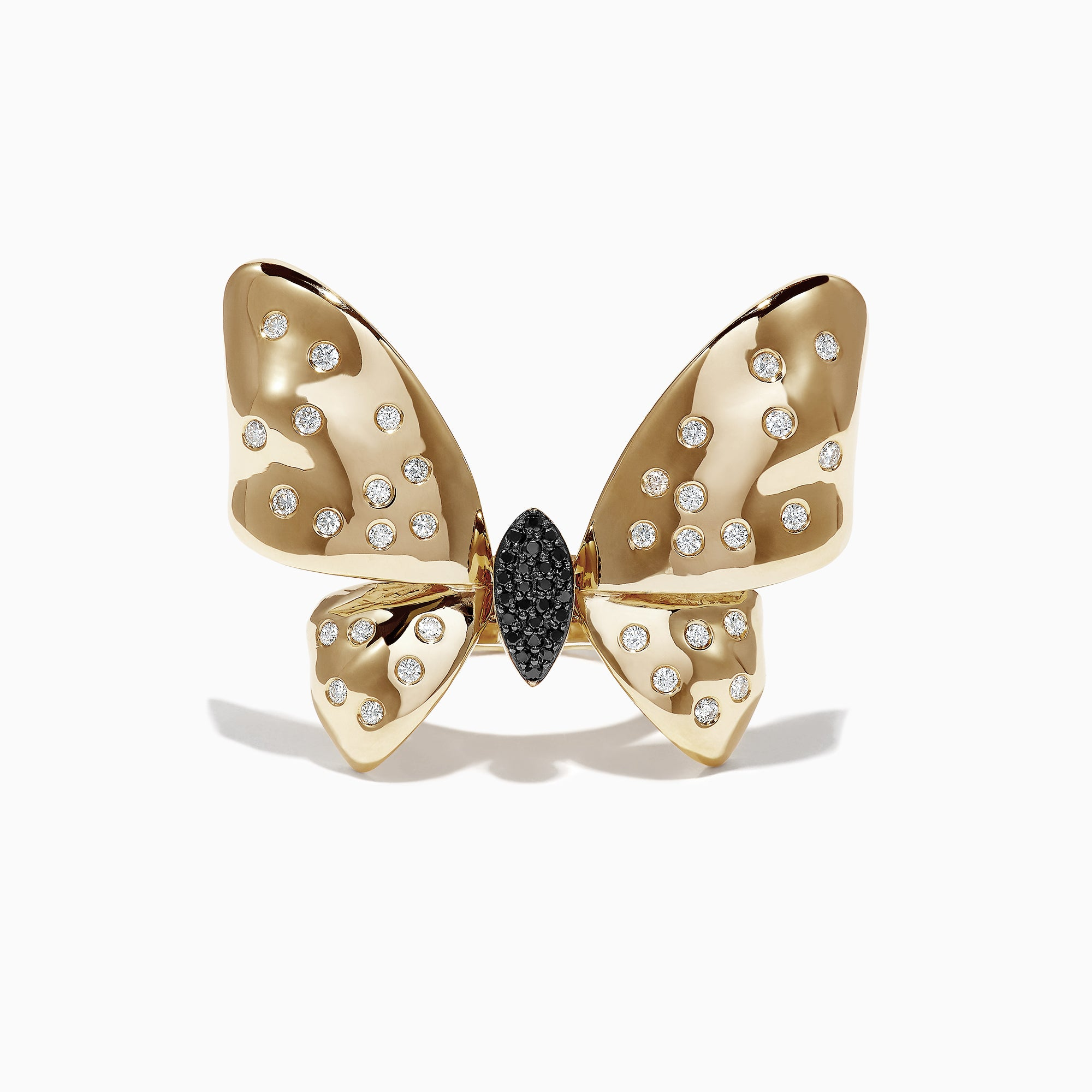 Effy Nature 14K Yellow Gold Black and White Dia Butterfly Ring, 0.68 TCW