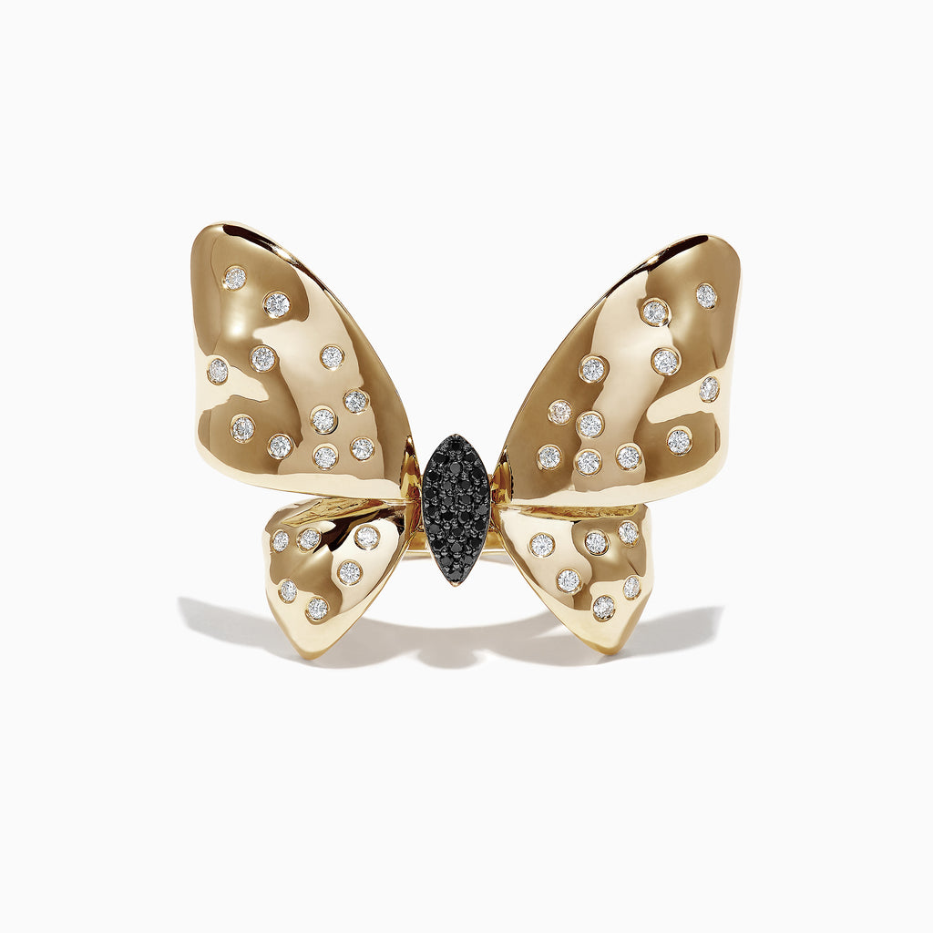 Effy 14K Gold Black & White Diamond Moving Wings Butterfly Ring, 0.68 TCW