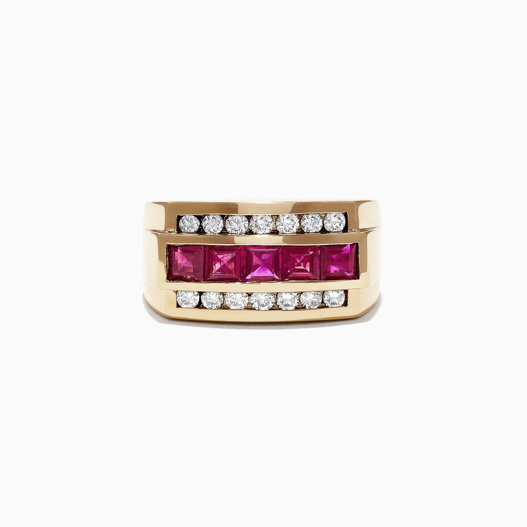 Effy Men's 14K Yellow Gold Diamond Ruby Ring, 2.59 TCW