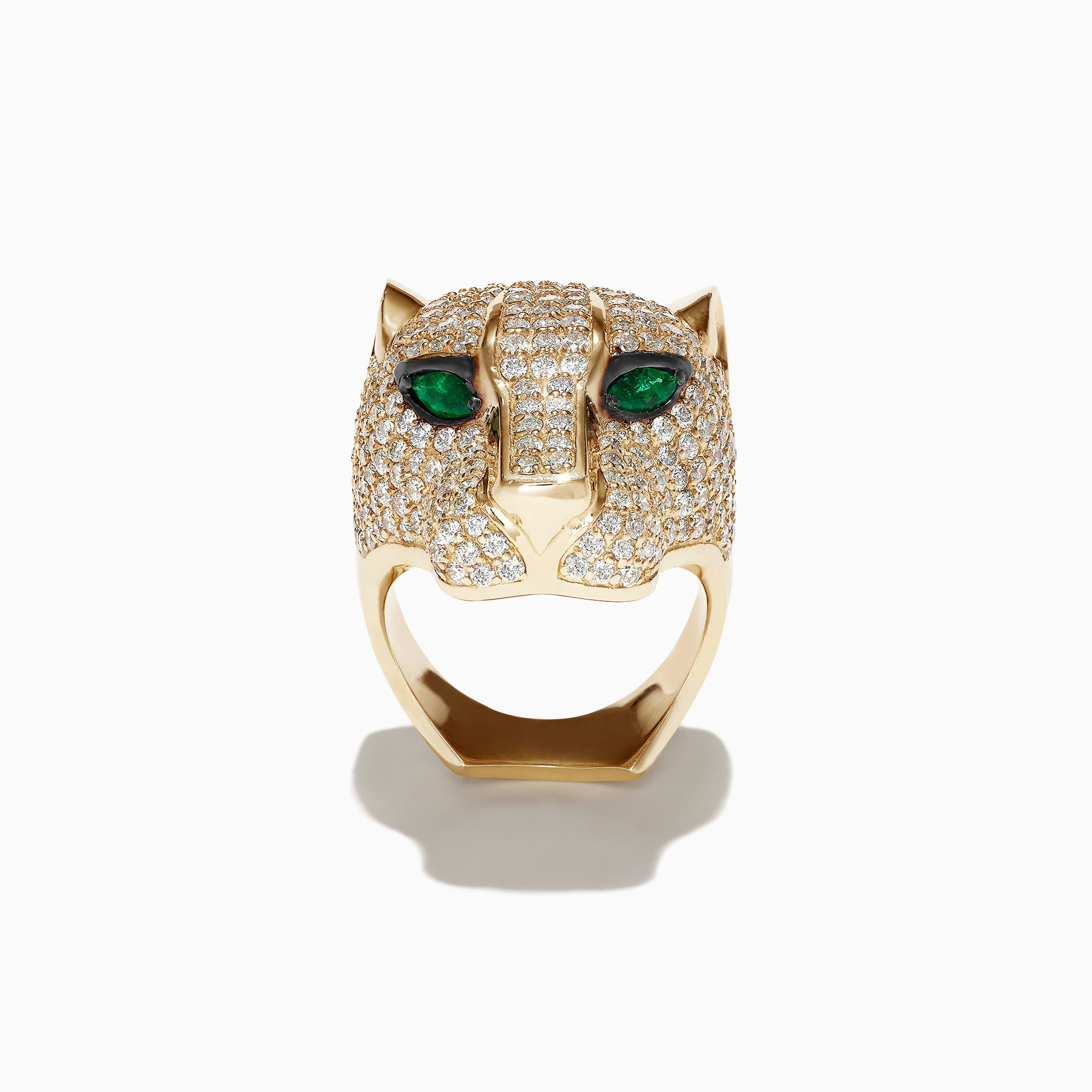 Effy Limited Edition 14K Yellow Gold Diamond Panther Head Ring, 3.80 TCW