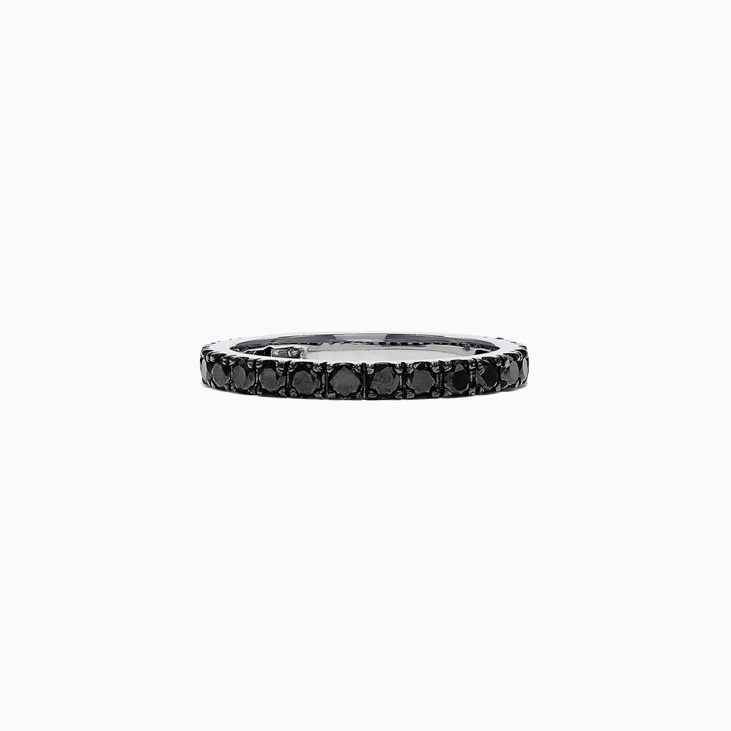 Effy 14K White Gold Black Diamond Stack Ring, 0.65 TCW