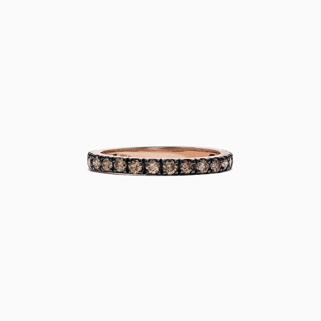 Effy Espresso 14K Rose Gold Cognac Diamond Stack Ring, 0.65 TCW