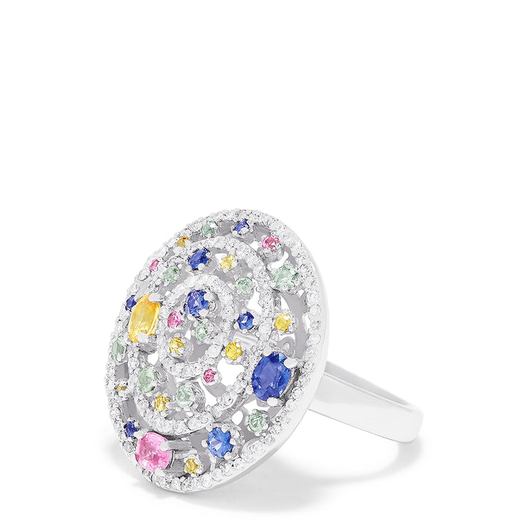 Effy 14K White Gold Multi Sapphire and Diamond Ring, 2.20 TCW
