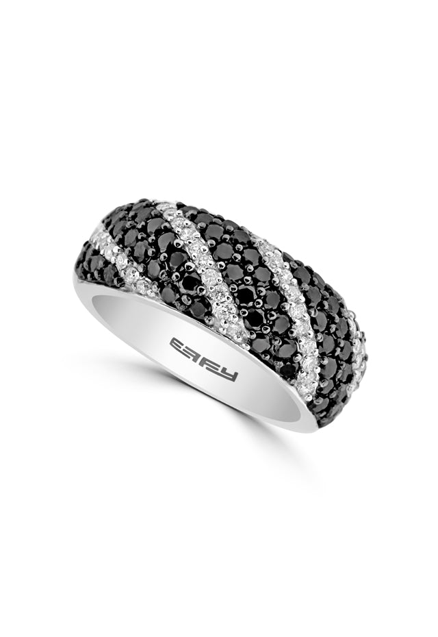 Effy 14K White Gold Black and White Diamond Ring, 1.31 TCW