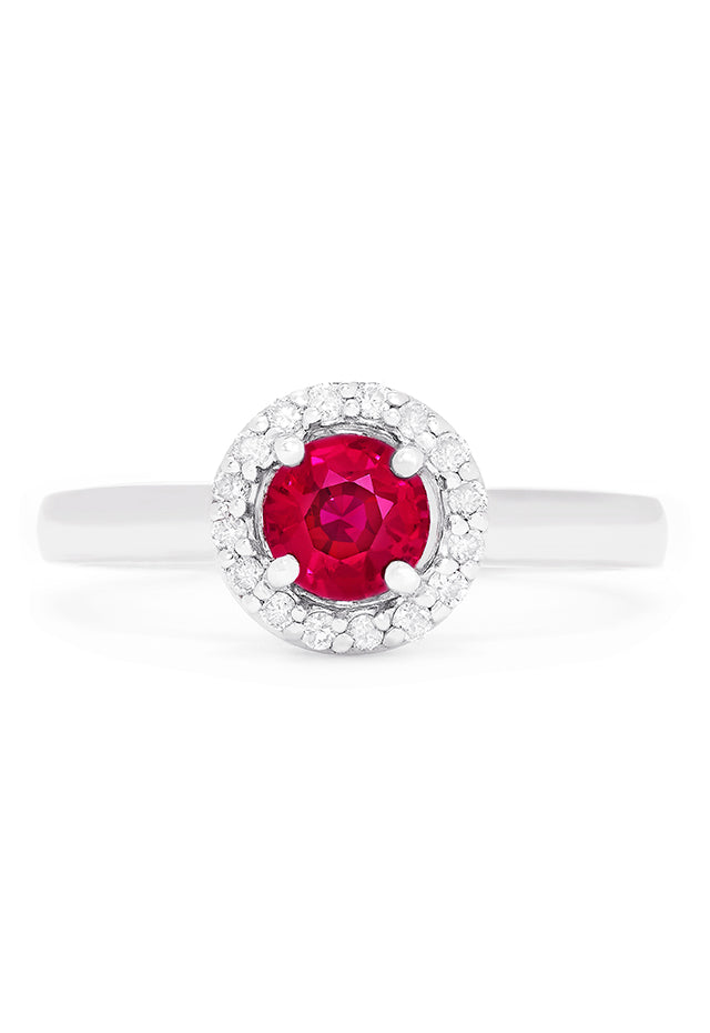Effy Gemma 14K White Gold Ruby and Diamond Halo Ring, 0.69 TCW
