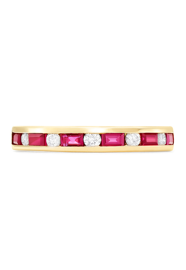 Effy Gemma 14K Yellow Gold Ruby and Diamond Channel-Set Ring, 0.72 TCW