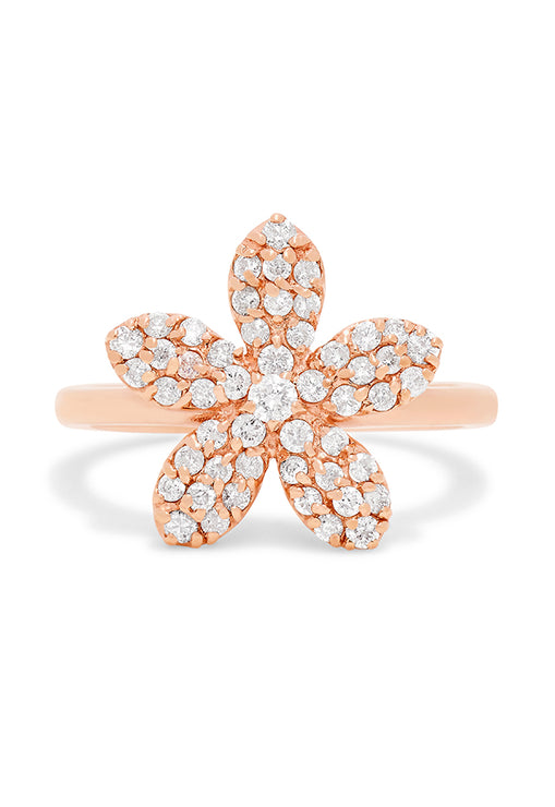 Effy 14K Rose Gold Diamond Flower Ring, 0.58 TCW
