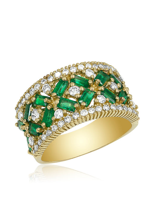 14K Yellow Gold Emerald and Diamond Ring, 2.21 TCW