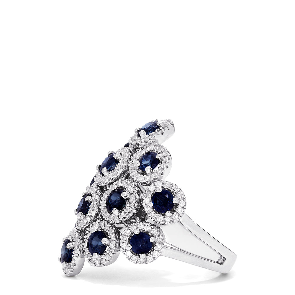 Effy Royale Bleu 14K White Gold Sapphire and Diamond Ring, 3.59 TCW
