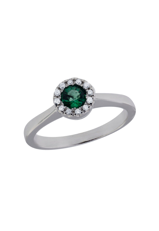 14K White Gold Emerald and Diamond Ring, .44 TCW