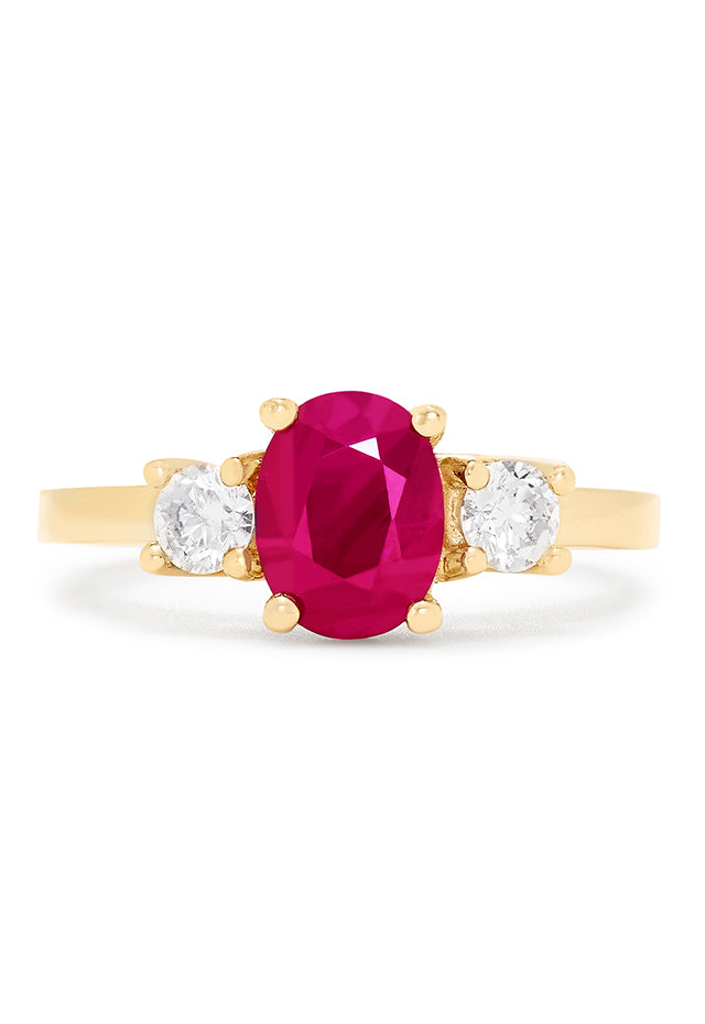 Effy Gemma 14K Yellow Gold Natural Ruby and Diamond Ring, 1.81 TCW