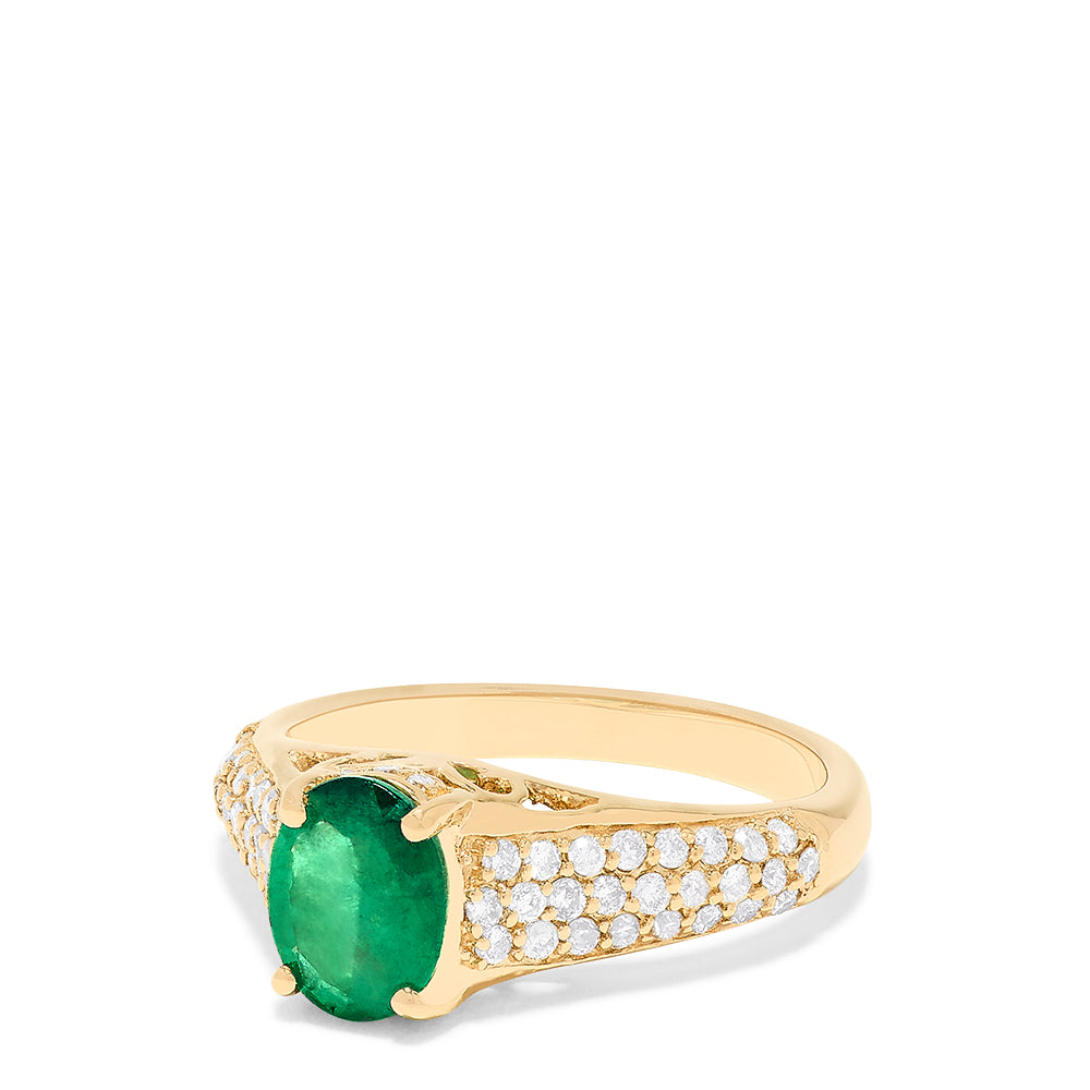 Effy 14K Yellow Gold Emerald and Diamond Ring, 1.66 TCW