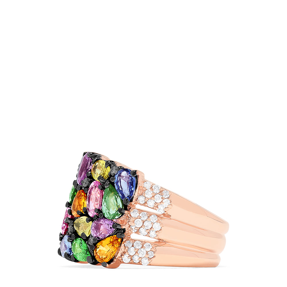 Effy 14K Rose Gold Multi Sapphire and Diamond Ring, 7.10 TCW
