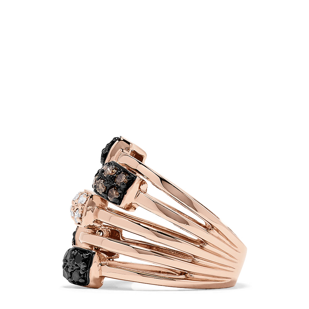 Effy 14K Rose Gold Black, Espresso and White Ring, 0.88 TCW
