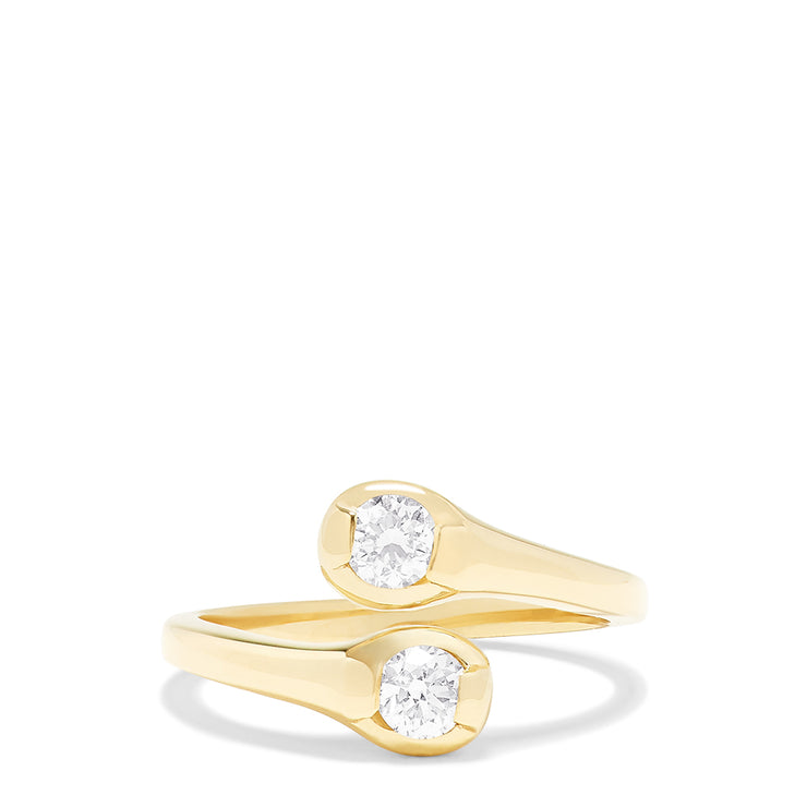 Effy D'Oro 14K Yellow Gold Two-of-Us Diamond Ring, 0.59 TCW