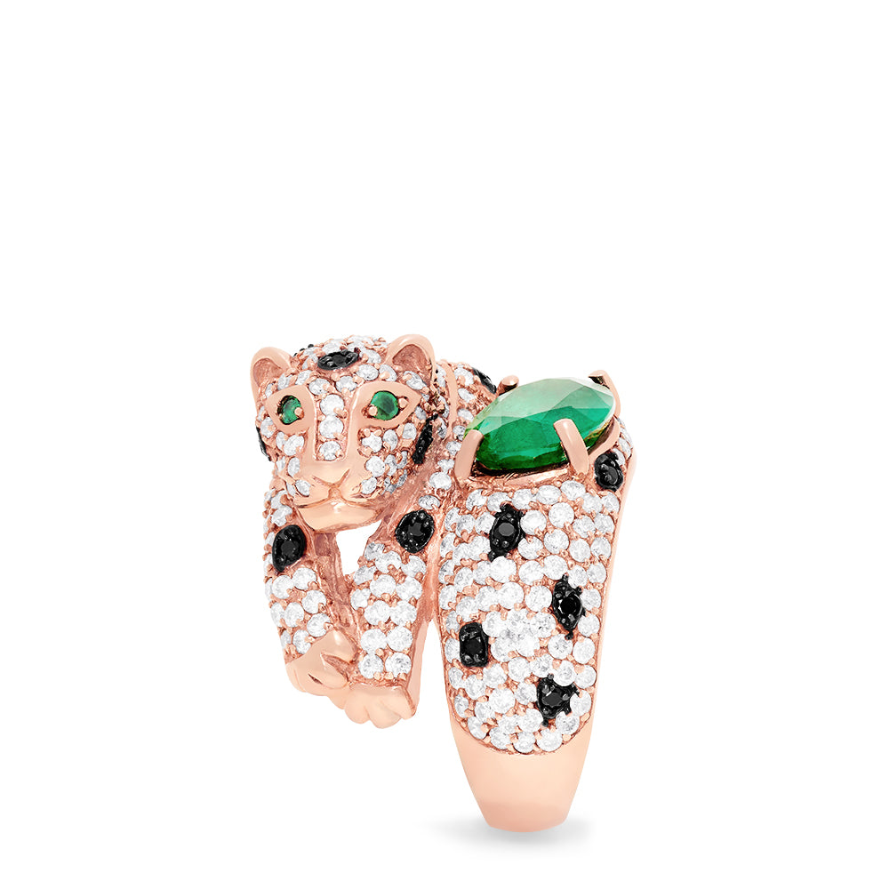Effy Signature 14K Rose Gold Emerald and Diamond Panther Ring, 5.69 TCW