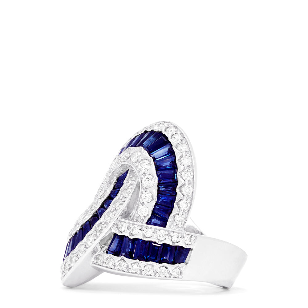 Effy Limited Edition 14K White Gold Sapphire and Diamond Ring, 6.61 TCW