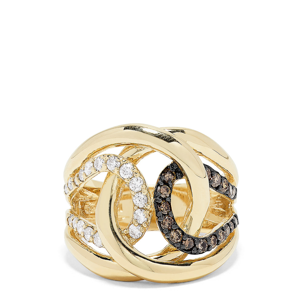 Effy 14K Yellow Gold Espresso and White Diamond Ring, 0.71 TCW