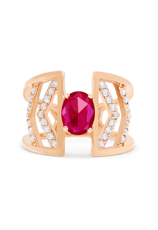 Effy Geo 14K Rose Gold Ruby and Diamond Negative Space Ring, 1.25 TCW