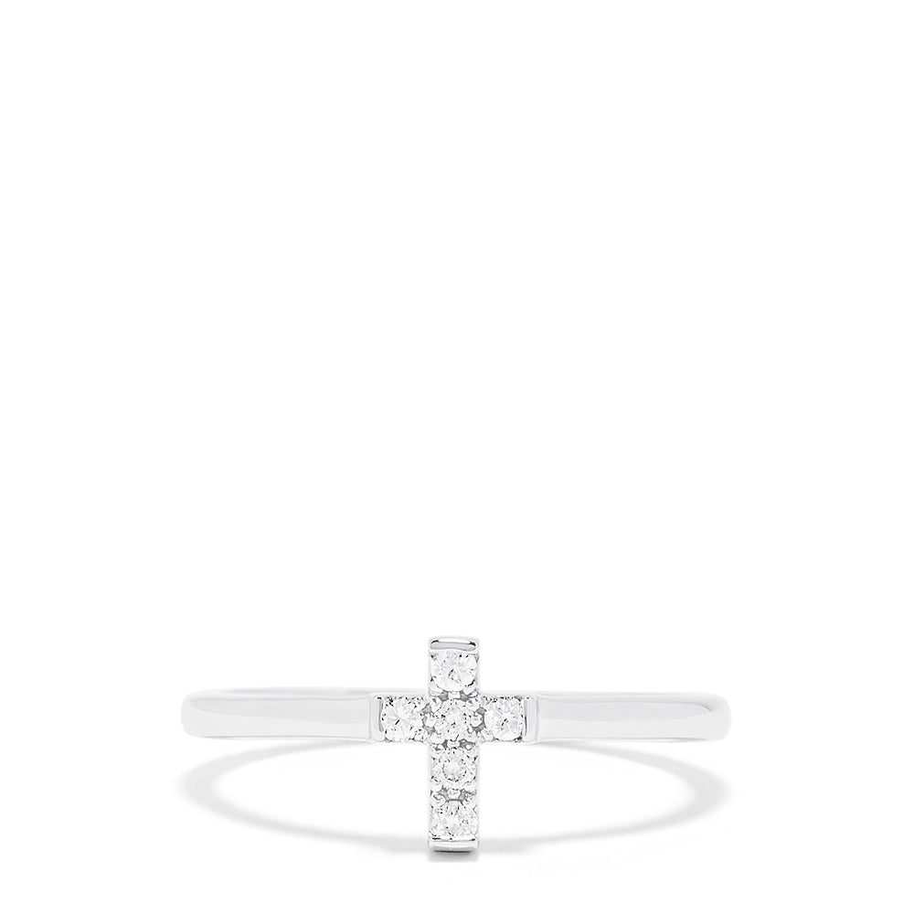 Effy Novelty 14K White Gold Diamond Cross Ring, 0.09 TCW