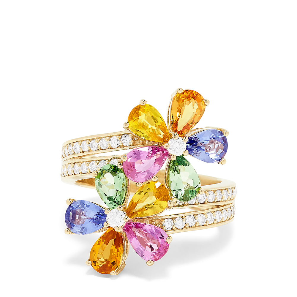 Effy Watercolors 14K Gold Multi Sapphire and Diamond Flower Ring, 5.20 TCW