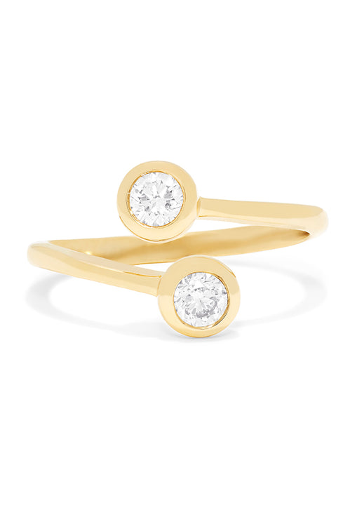 Effy D'Oro 14K Yellow Gold Two-of-Us Diamond Ring, 0.39 TCW