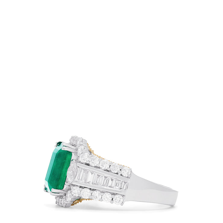 Effy Limited Edition 14K Two-Tone Gold Emerald and Diamond Ring, 4.63 TCW