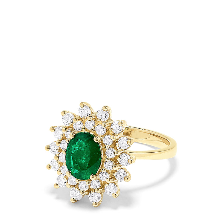Effy 14K Yellow Gold Emerald and Diamond Ring, 1.96 TCW