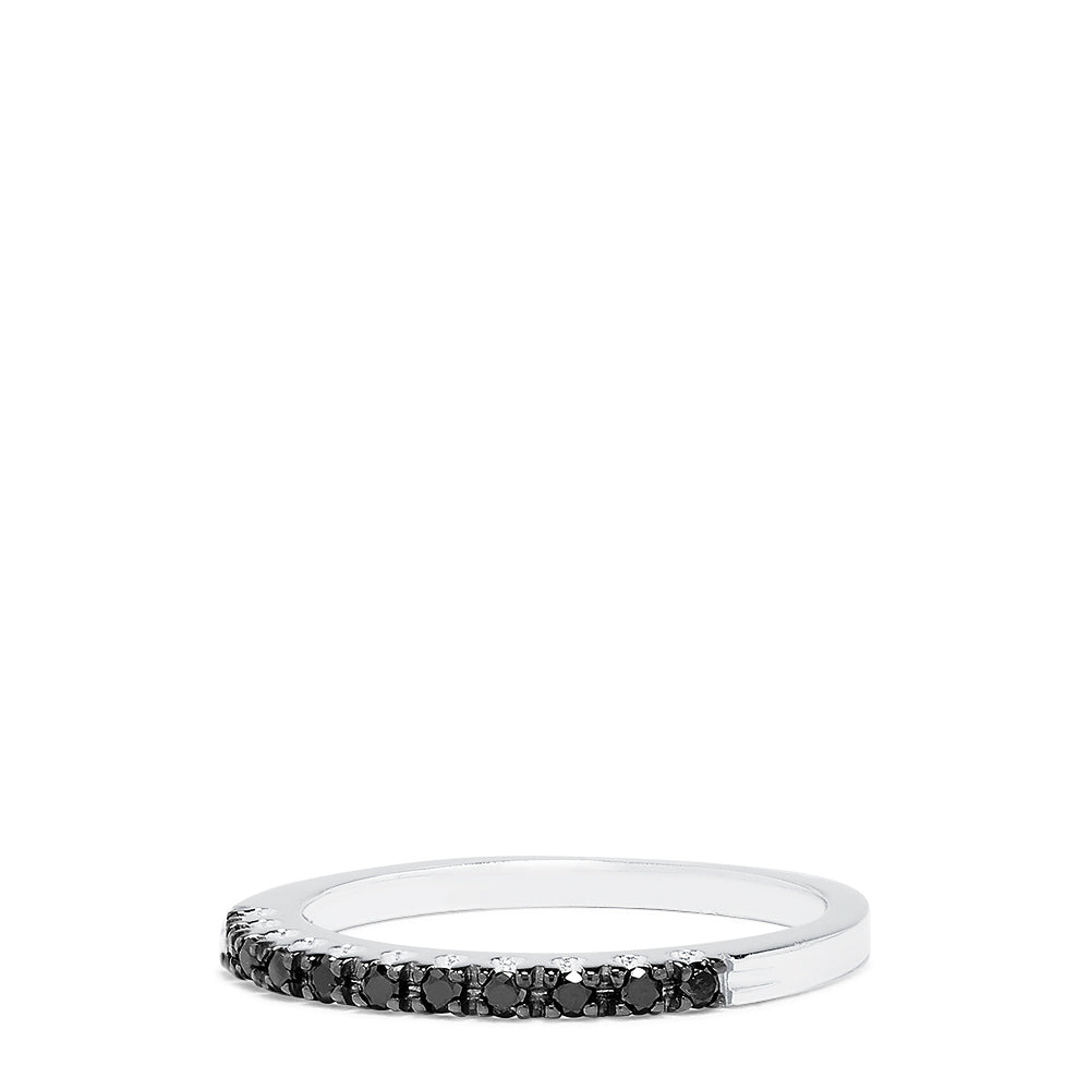Effy 14K White Gold Black Diamond Ring, 0.16 TCW