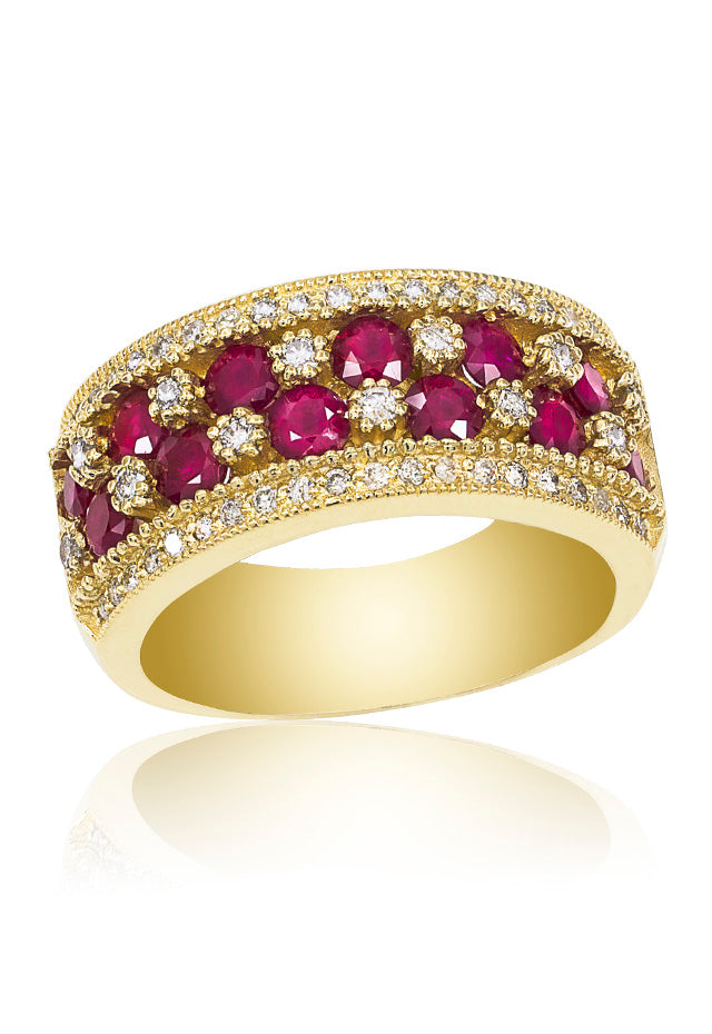 14K Yellow Gold Ruby and Diamond Ring, 1.97 TCW
