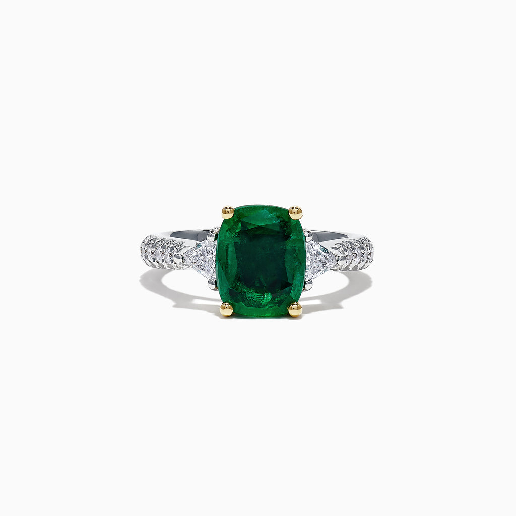 Effy Brasilica 14k White Gold Emerald and Diamond Ring, 2.81 TCW