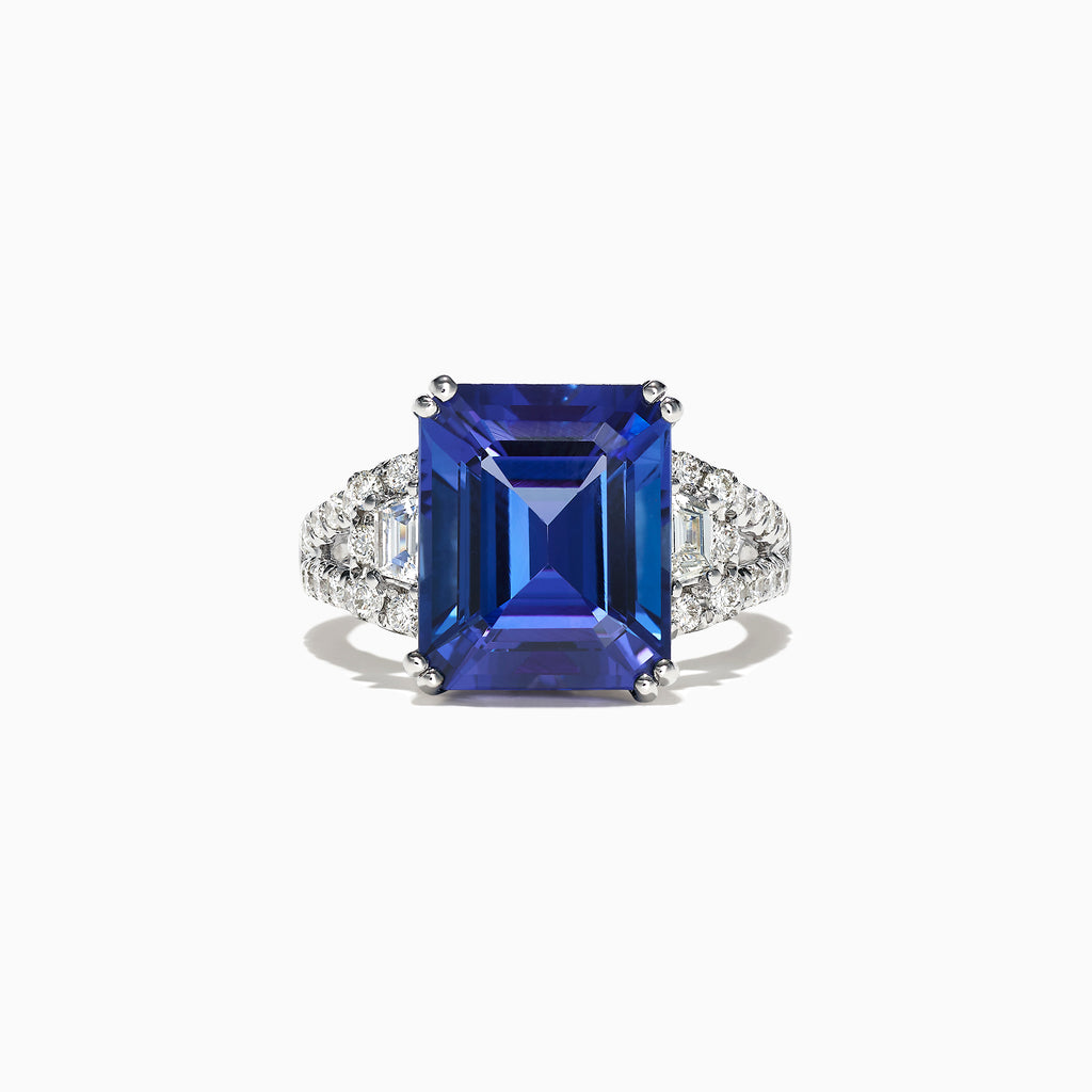 Effy Tanzanite Royale 18K White Gold Tanzanite Diamond Ring, 7.99 TCW