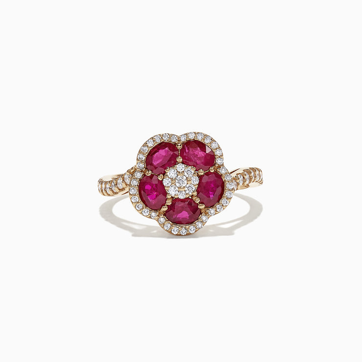 Effy Ruby Royale 14K Yellow Gold Ruby and Diamond Flower Ring, 1.84 TCW