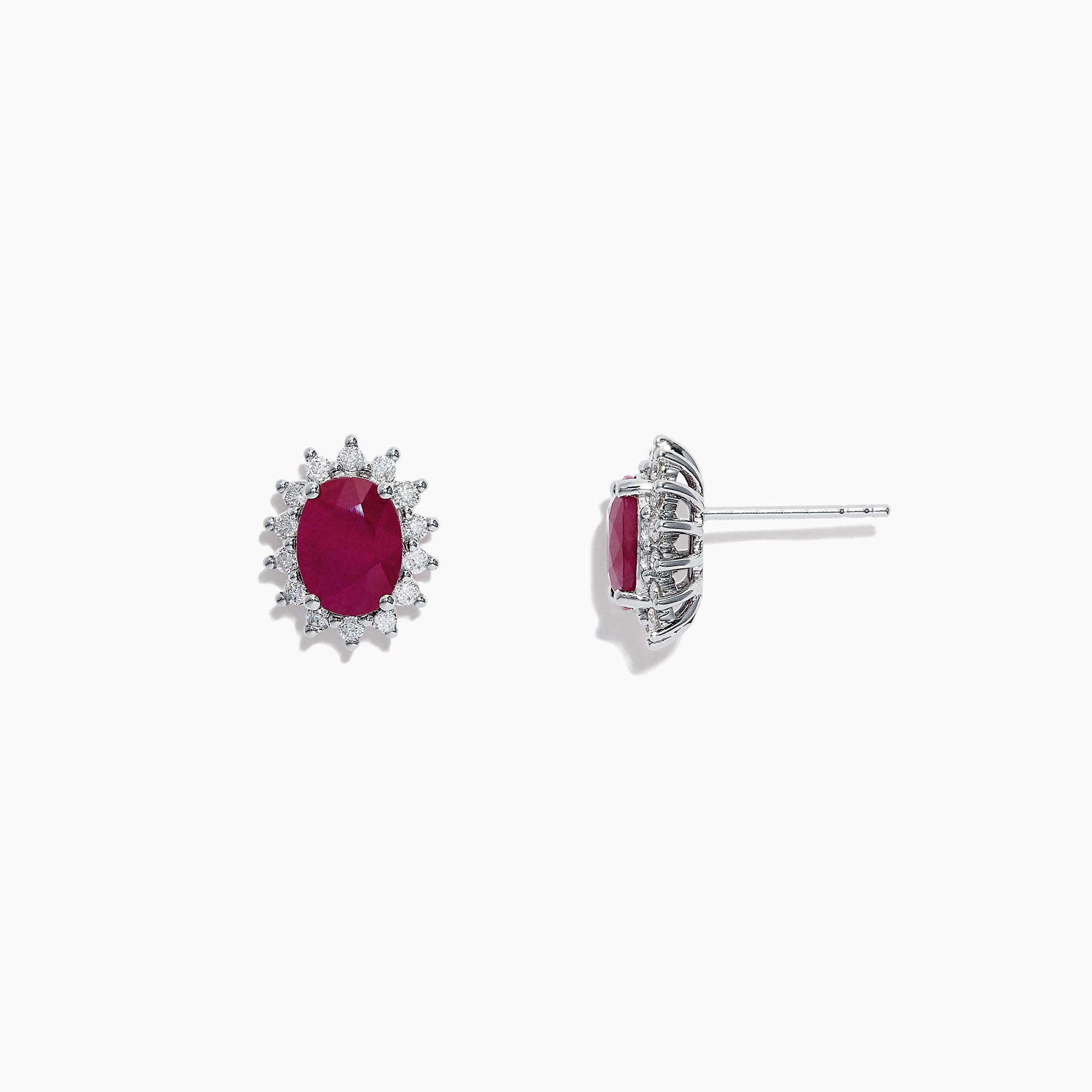Effy Ruby Royale 14K White Gold Ruby and Diamond Earrings, 3.26 TCW