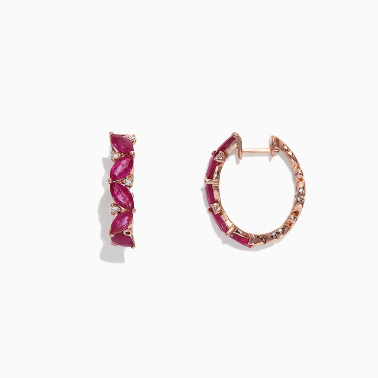 Effy Ruby Royale 14K Rose Gold Ruby and Diamond Hoop Earrings, 3.41 TCW