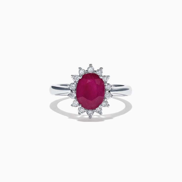 Effy Ruby Royale 14K White Gold Ruby and Diamond Ring, 2.12 TCW