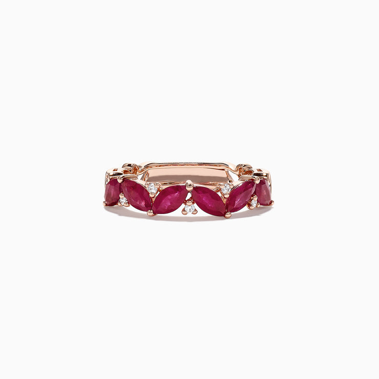 Effy Ruby Royale 14K Rose Gold Ruby and Diamond Ring, 2.04 TCW