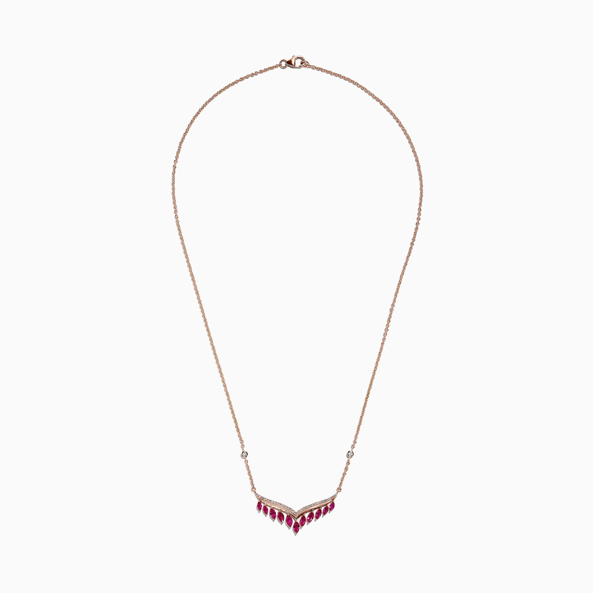 Effy Ruby Royale 14K Rose Gold Ruby and Diamond Necklace, 1.81 TCW