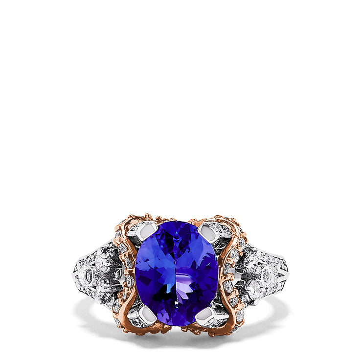 Effy 14K Two Tone Gold Tanzanite and Diamond Ring, 3.26 TCW